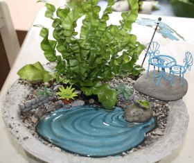 Fairy Garden in a Papercrete Container made at  Papercrete Class from Lee Coates (http://thepapercretepotter.blogspot.com)